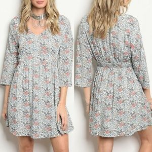 Ivory & Coral Floral Dress {Available}